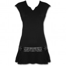 Damen Kleid GOTHIC ROCK - Stud Waist Mini Dress