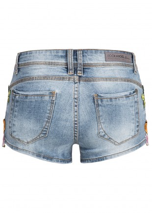 Ladies Denim Skinny Shorts Flowers